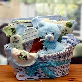 Deluxe Organic New Baby Gift Basket - Boy