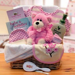 Organic New Baby Basics Gift Basket - Girl
