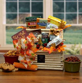 Fall Log Cabin Gift Basket