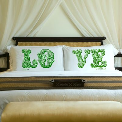 Love Connection Couples Pillow Case green